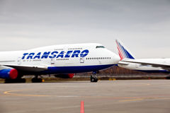 Transaero aircraft company at the international airport Sheremetyevo Royalty Free Stock Photo