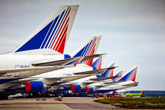 Transaero aircraft company at the international airport Sheremetyevo Stock Photo