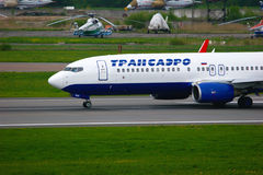 Transaero Airline Boeing 737-85P aircraft  in Pulkovo International airport in Saint-Petersburg, Russia Royalty Free Stock Images