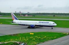 Transaero Airline Boeing 767-3P6ER aircraft  in Pulkovo International airport in Saint-Petersburg, Russia Stock Images