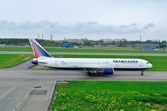 Transaero Airline Boeing 767-3P6ER aircraft  in Pulkovo International airport in Saint-Petersburg, Russia Stock Image