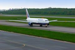 Transaero Airline Boeing 767-3P6ER aircraft  in Pulkovo International airport in Saint-Petersburg, Russia Stock Photo