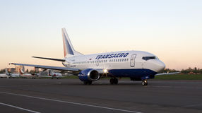 Transaero Airlines Boeing 737 aircraft running on the runway Royalty Free Stock Image