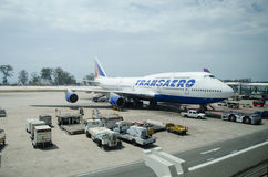 Transaero Airlines Boeing 747 landed at Phuke royalty free stock photography