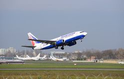 Transaero airplane taking off Stock Photo