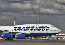 Transaero Boeing 747-400 Fotos de archivo libres de regalías