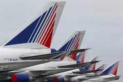 Transaero Boeing 747 bij de internationale luchthaven die van Domodedovo wordt geparkeerd Royalty-vrije Stock Afbeelding