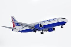 Transaero Boeing 737. NOVYY URENGOY, RUSSIA - MARCH 13, 2014: Transaero Boeing 737 arrives at the Novyy Urengoy International Airport Royalty Free Stock Image