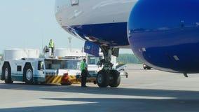Transaero Boeing 777 towing stock footage
