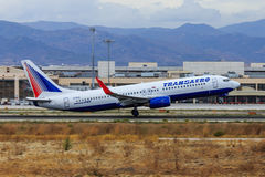 Transaero jet taking off Stock Images