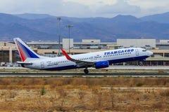 Transaero jet taking off Stock Images