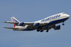 Transaero Jumbo. Transaero is a fastly growing russian company, with new routes to China and the U.S Royalty Free Stock Photography