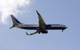 Transaero 737 passagerarestråle i flykten Royaltyfri Bild
