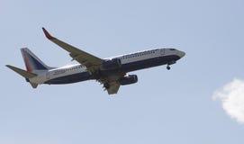 Transaero 737 passagier tijdens de vlucht straal stock foto