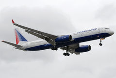 Transaero Tupolev 204. Transaero is a russian company that operates charter and scheduled flights to circa 100 destinations worldwide Stock Image