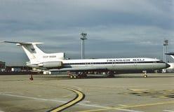 Transair Mali Tupolev Turkije-154B2 cccp-85694 in Praag Stock Afbeelding