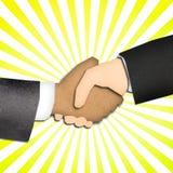 transakci biznesowej ręki promienia potrząśnięcia kolor żółty Zdjęcia Stock