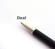 Transakcja z piórem obraz stock
