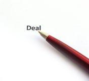 Transakcja z piórem fotografia stock