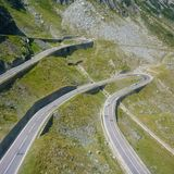 Transalpina. Beautiful curved road in Romania Royalty Free Stock Images