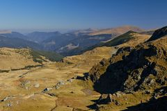 Transalpina, the highest altitude road in Romania. Carpathians. Transalpina - road in Parang Mountains. Is the highest road in Romania Valcea country, up to stock images