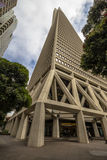 Transamerica金字塔从下面,旧金山 图库摄影