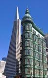 Transamerica Pyramid and Columbus Tower in San Francisco. USA Royalty Free Stock Photography