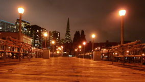 Transamerica Pyramid at night in San Francisco, CA stock video footage