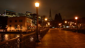 Transamerica Pyramid at night in San Francisco, CA stock footage