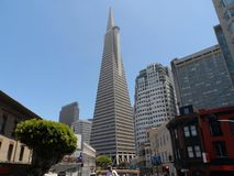Transamerica Pyramid in San Francisco, California at the end of June stock photography