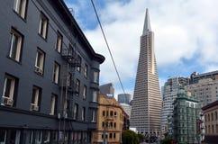 Transamerica Pyramid in San Francisco financial district Royalty Free Stock Photos