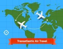 Transatlantic jet plane travel concept Stock Image