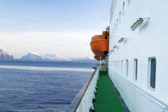 Transatlantic ship deck  outside ice mountains Stock Photo
