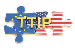 Transatlantic Trade and Investment Partnership TTIP concept, 3D Royalty Free Stock Images