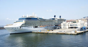 Transatlantycki na molu port Fotografia Royalty Free