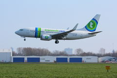Transavia 737 landing in Rotterdam Stock Photo