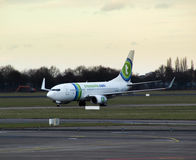 Transavia airplane arrives in Rotterdam Stock Photo