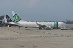 Transavia aviones de COM Imagen de archivo libre de regalías