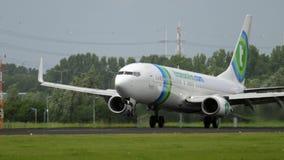 Transavia Boeing 737 landing stock footage