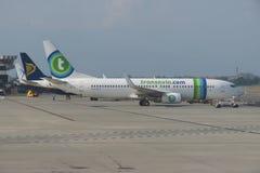 Transavia com samolot Obraz Royalty Free