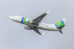 Transavia jet in flight Stock Images