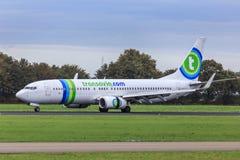 Transavia jet reverse thrust Stock Image