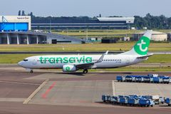 Transavia jet taxiing. A Transavia Boeing 737-800 taxiing at Amsterdam Airport Schiphol stock images