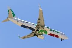 Transavia 737 med undersidastrand- och skidåkninglogoer Arkivbild