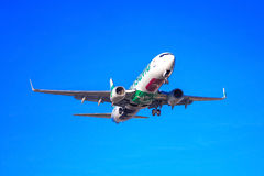 Transavia plane departing. Photograph of a plane departing from El Prat airport, Barcelona, Spain Stock Photography