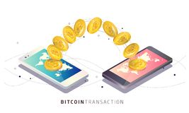 Transazione di Bitcoin Illustrazione isometrica di vettore Immagine Stock