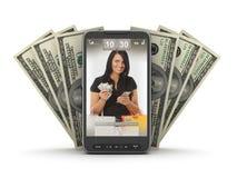 Transazioni dei soldi dal telefono mobile Immagini Stock Libere da Diritti