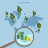 Transazioni globali del sistema monetario di concetto di traffico dei soldi del mondo Immagine Stock