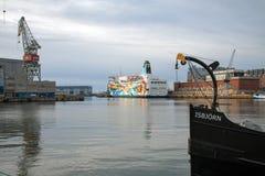 Transbordador 'princesa Anastasia 'de St Peter Line en Helsinki, visión portuaria fotografía de archivo libre de regalías