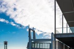 Transbordador Aeri在巴塞罗那 库存照片